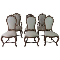 Six Karges French Louis XV Style Walnut Dining Room Chairs