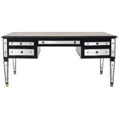French Mid-Century Ebonized and Mirrored Desk by Maison Jansen