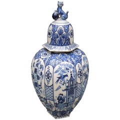 19th Century Ribbed Blue and White Delft Baluster Vase with Lid