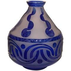 1930s Scailmont Belgium Deco Blue Glass Vase