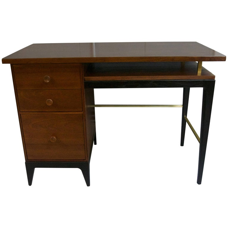 1950 Mahogany Desk/Vanity with Brass Accents