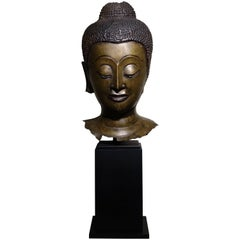Buddha Head in Lost-Wax Casting Bronze, Ayutthaya, 17th Century, Thailand