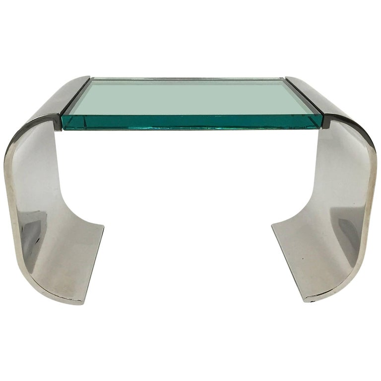 Stanley Jay Friedman for Brueton Stainless Steel and Glass Macao Low Table For Sale