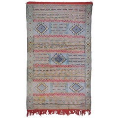 Vintage Moroccan Silk and Wool Flat-Weave Kilim Carpet