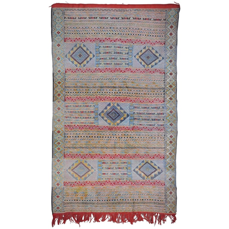 Vintage Moroccan Silk and Wool Flat-Weave Kilim Carpet For Sale