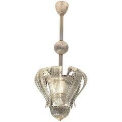 Elegant Barovier Handblown Glass Pendant Lantern, 1930s