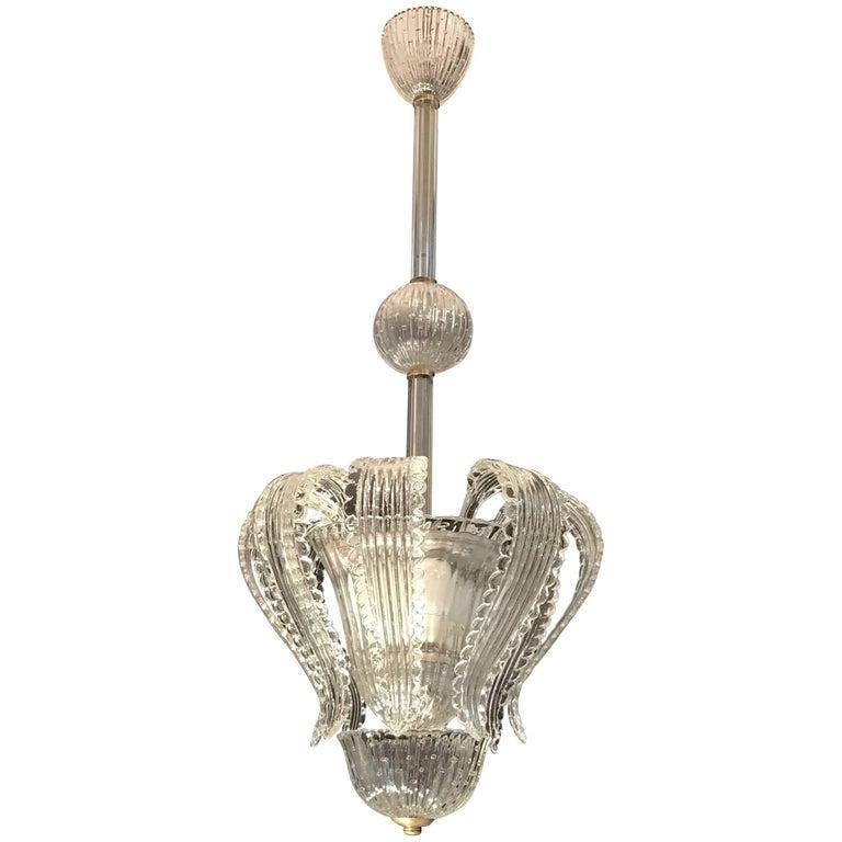 Elegant Barovier Handblown Glass Pendant Lantern, 1930s  For Sale