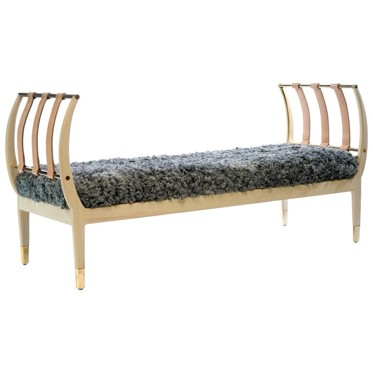 Rib Bench in Bleached Ash, Brass and Gotland Sheepskin or COM For Sale