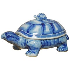Blue and White Porcelain Turtle Trinket Box