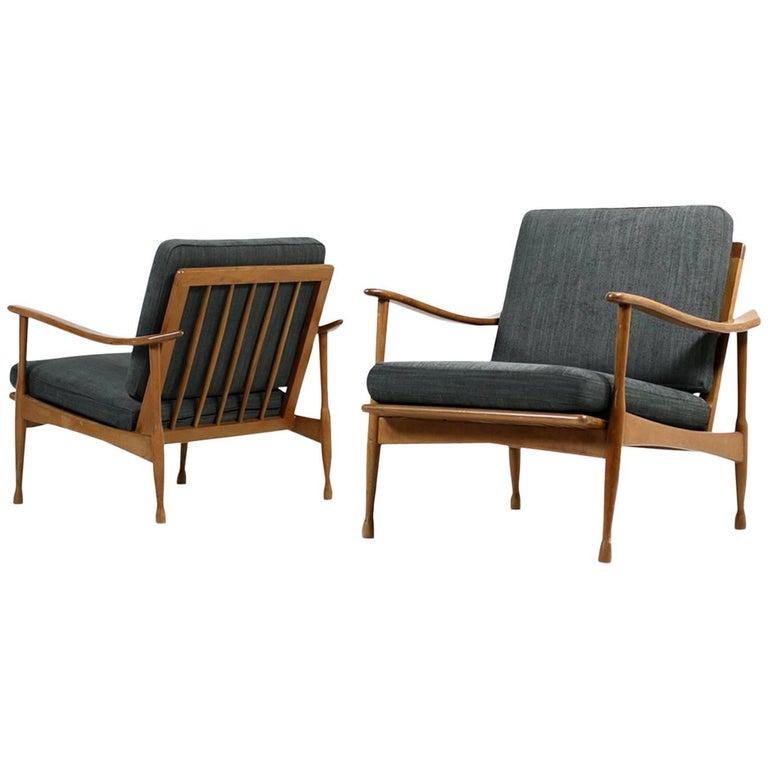 Pair of 1950s Italian Organic Easy Chairs Beechwood Mid-Century New Upholstery