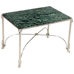 Nickel-Plated Marble-Topped Occasional Table