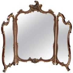 Antique Mahogany Triptych Dressing Mirror