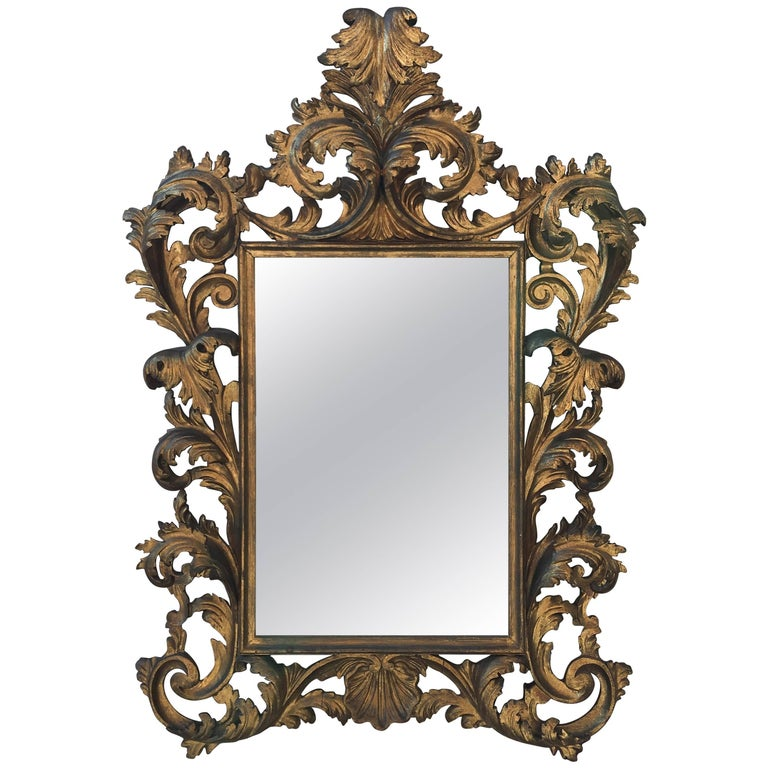 Ornately Carved Late 19th Century Gold Gilt Mirror