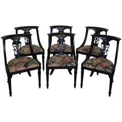 Six Biedermeier 19th Century Side Chairs