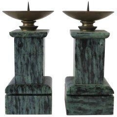 Vintage Pair of Green and Black Marble Column Candlestick Holders
