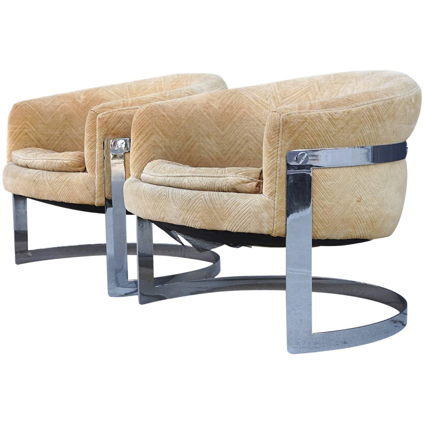 Bernhardt Flair Division Lounge Chairs Attributed To Milo Baughman For Sale