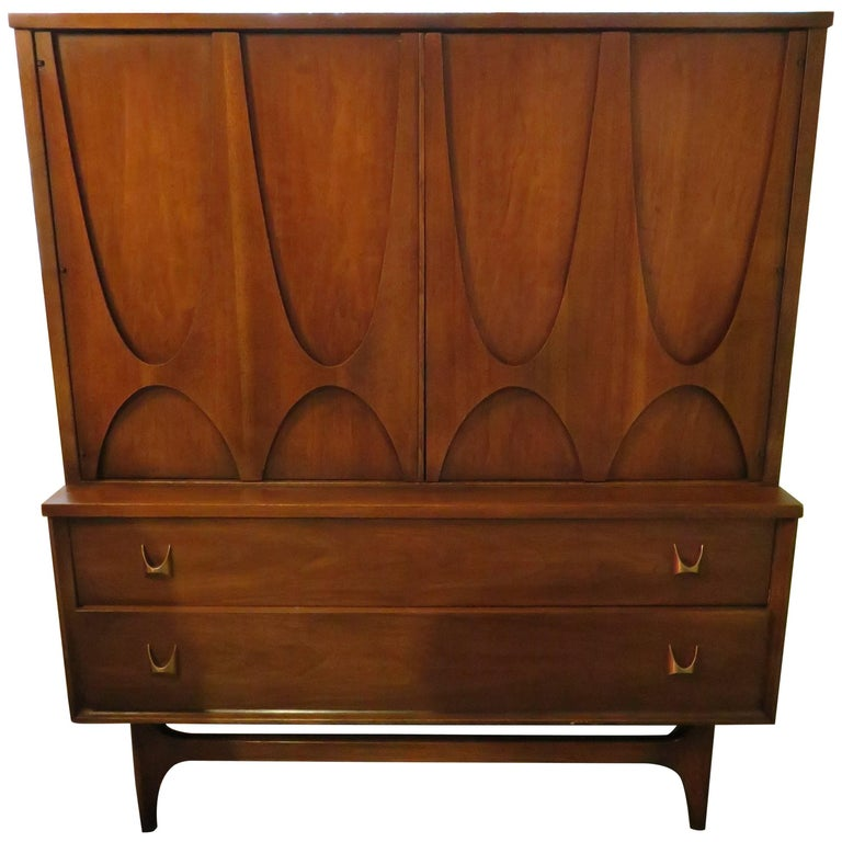 Lovely Broyhill Brasilia Tall Walnut Cabinet Dresser Mid Century Modern For