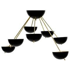 Beautiful Italian Flush Mount Starburst Brass Bowl Chandelier Stilnovo Style