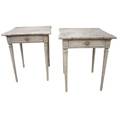 Two 19th Century French Louis XVI Carved Painted Side Table with Faux Marble Top