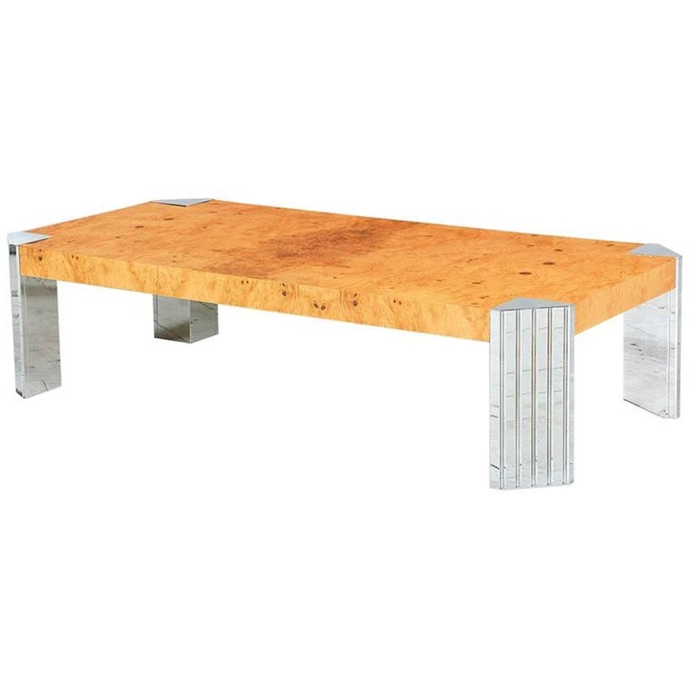 Spectacular Olive Burl Wood And Chrome Coffee Table For Sale At 1stdibs