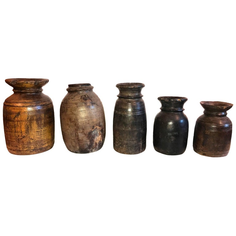 Vintage Wood Lota Vases from India, Early 20th Century