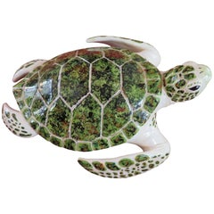 Whimsical Large-Scale Ceramic Sea Turtle Mid-Century Modern