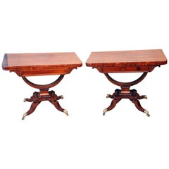 Antique Regency Pair of Goncalo Alves Card Tables
