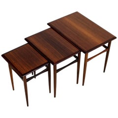 Set of Three 1960s Nesting Tables by Arne Hovmand Olsen Danish Modern Rosewood