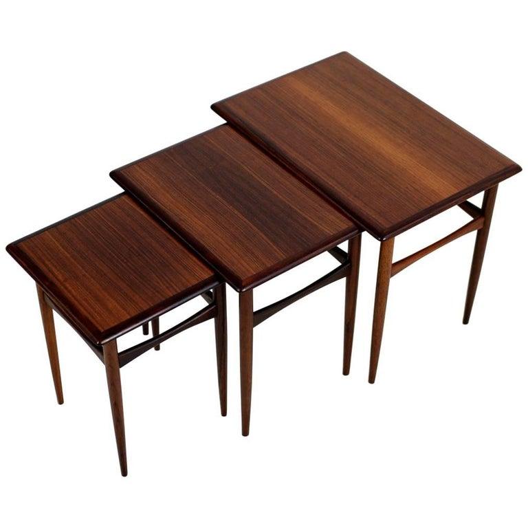 Set of Three 1960s Nesting Tables by Arne Hovmand Olsen Danish Modern Rosewood