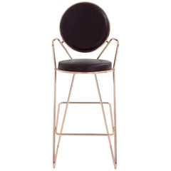 Moroso Double Zero Barstool in Polished Black Chrome or Gold Chrome