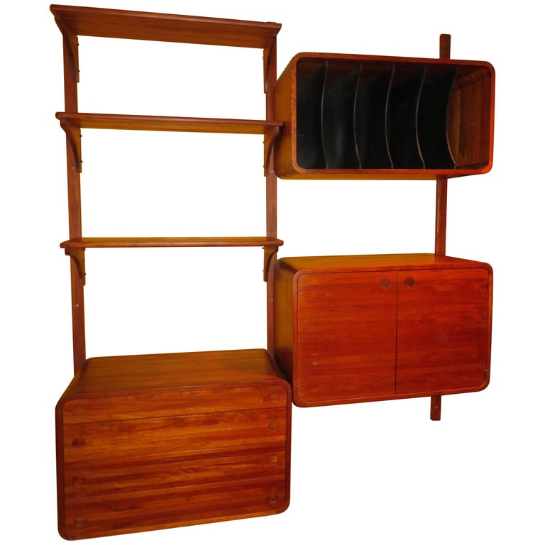 Unusual Two Bay Solid Teak Stereo Wall Unit Woodcraft Mid-Century Modern