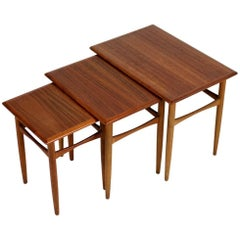 Set of Three 1960s Nesting Tables by Arne Hovmand Olsen Danish Modern Teak