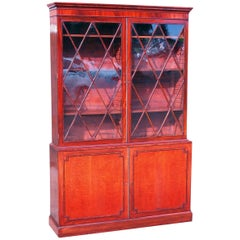 Antique Regency Satinwood and Mahogany Library Bookcase
