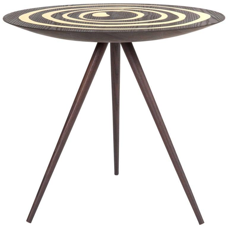 Contemporary 'A. Cepa' Side Table in Ebonized Ash with Brass by Konekt