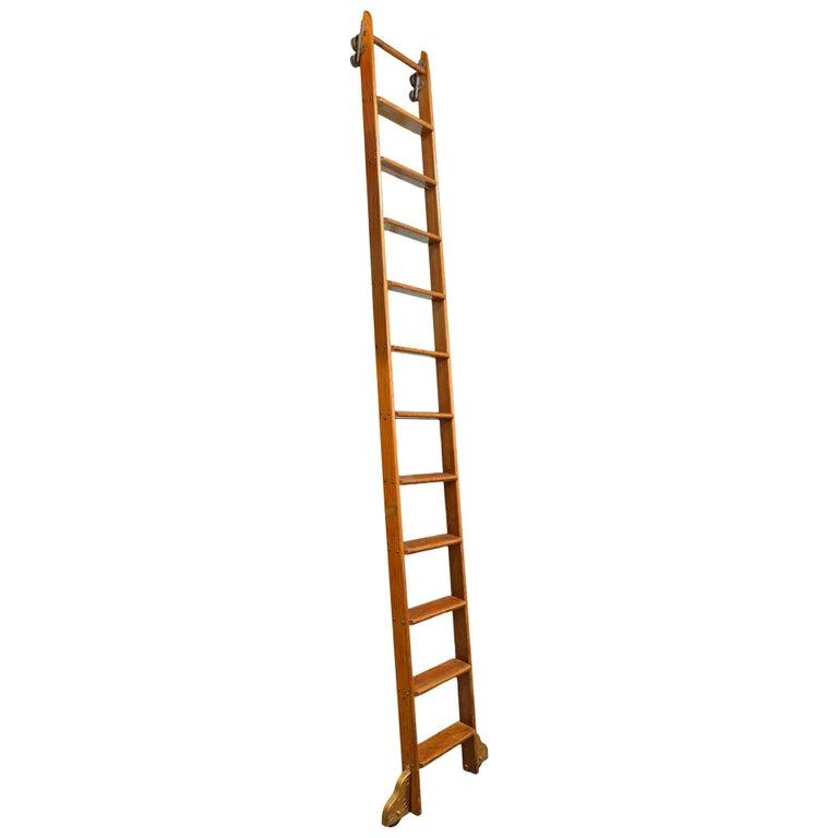 Putnam Oak Rolling Library Ladder At 1stdibs