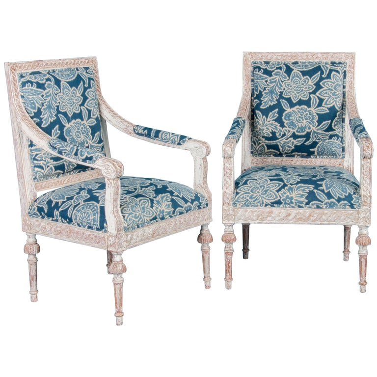 Pair of Antique 19th Century Gustavian Armchairs from Sweden For Sale