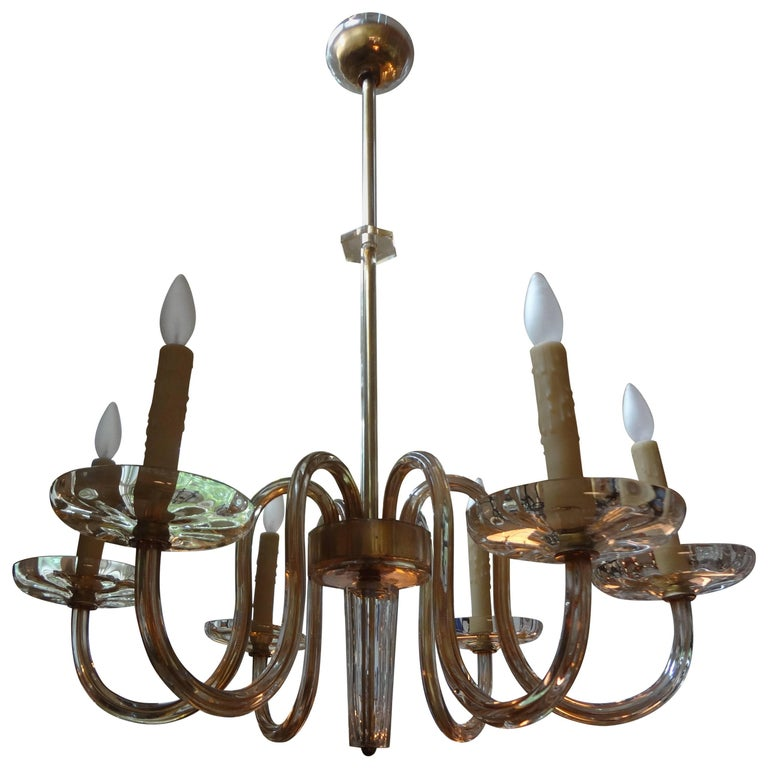 Murano Gold Glass Six-Light Chandelier by Seguso