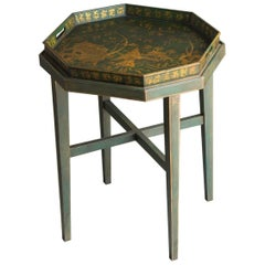Antique English Chinoiserie Painted, Gilded Octagonal Tray Coffee Table