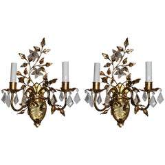 Wonderful Vintage Pair of Etched Rock Floral Filigree Crystal Sconces