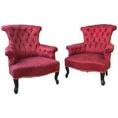Pair of French Upholstered Armchairs in Red Fabric