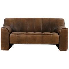 1970s Vintage De Sede DS 44 Two-Seat Sofa Brown Dark Cognac Buffalo Leather