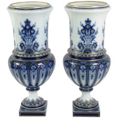 "Fabulous Pair of Sèvres ""Florence"" Porcelain Vases by Carrier-Belleuse, 1895"