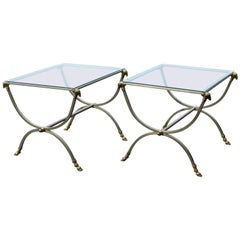 Neoclassical Steel and Bronze Tables