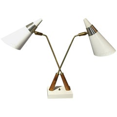American Modern 1950s Double Shade Lamp, Brass, Chrome, Wood