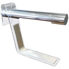 1970s Italian Modern Chrome, Lucite and Brushed Aluminium Cantilevered Desk Lamp
