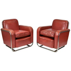 Pair of Wolfgang Hoffmann for Howell Art Deco Club Chairs, circa 1936