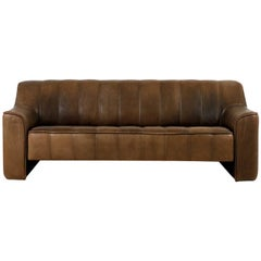 1970s Vintage De Sede DS 44 Three-Seat Sofa Brown Dark Cognac Buffalo Leather