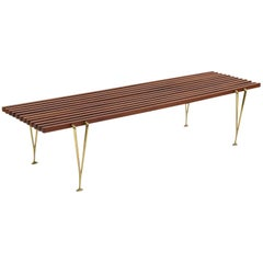 Hugh Acton Walnut and Brass Bench