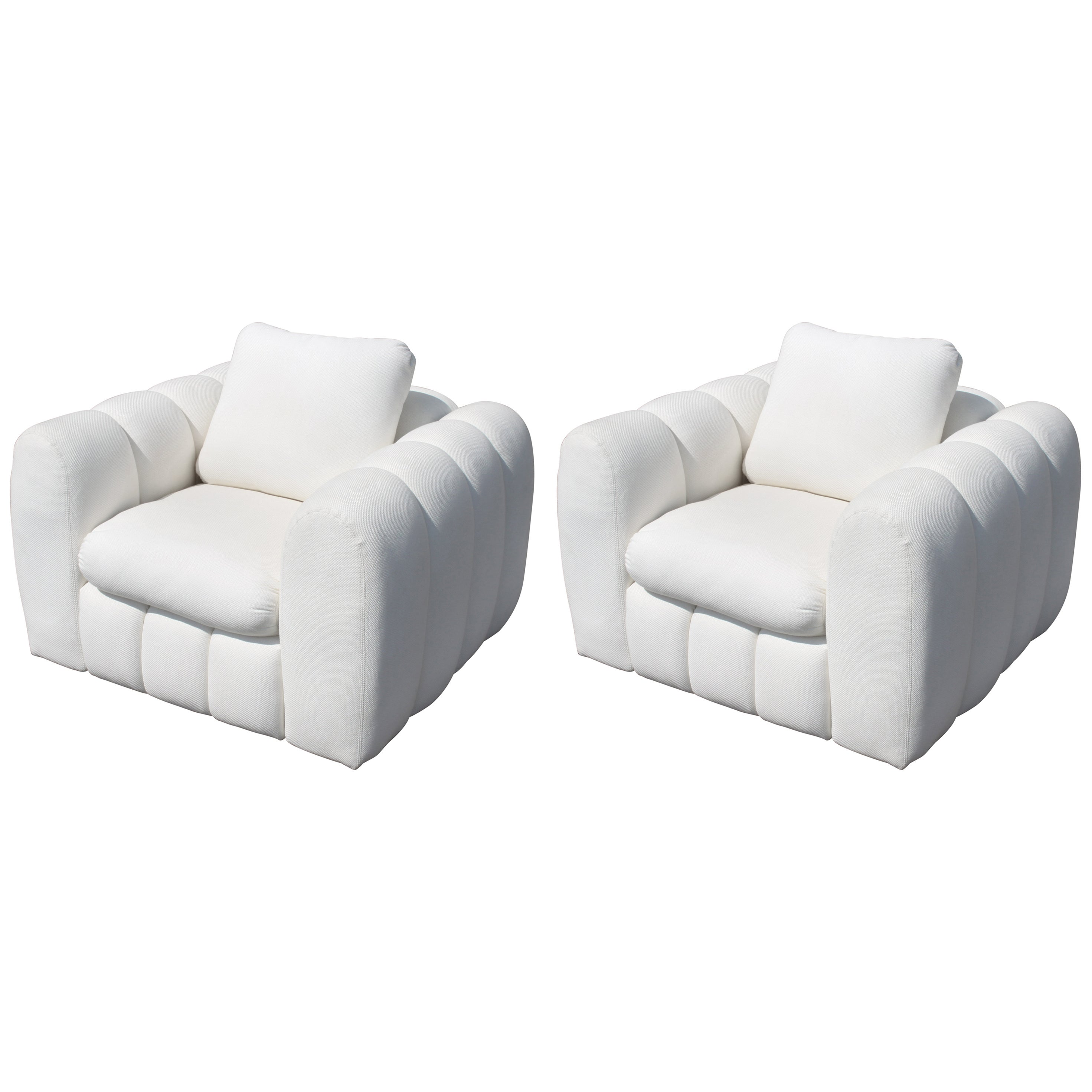 Channeled Jay Spectre White Club Chairs for Century Furniture, circa 1970s, Pair