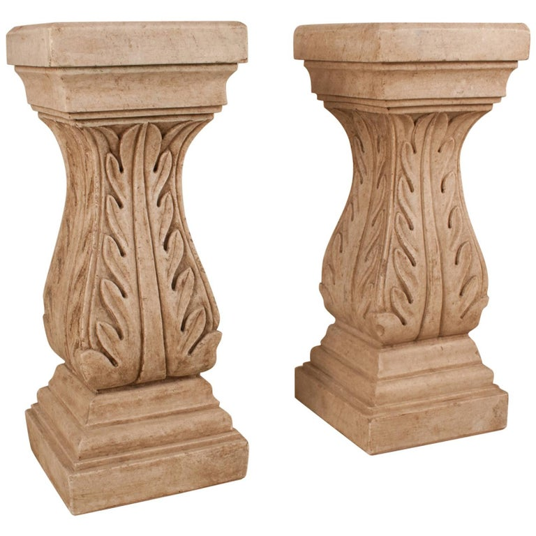 Pair of White Marble Pedestals or Stands For Sale